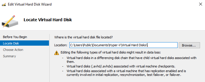 'edit Disk' HyperV VHDx