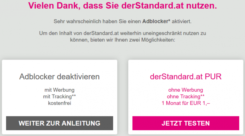 AdBlock Warnung derStandard.at
